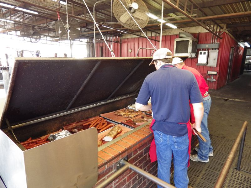 Selection of meats on the warming pit at Cooper's