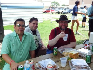 Ralph, Brandon, and Richard enjoying Corkscrew BBQ