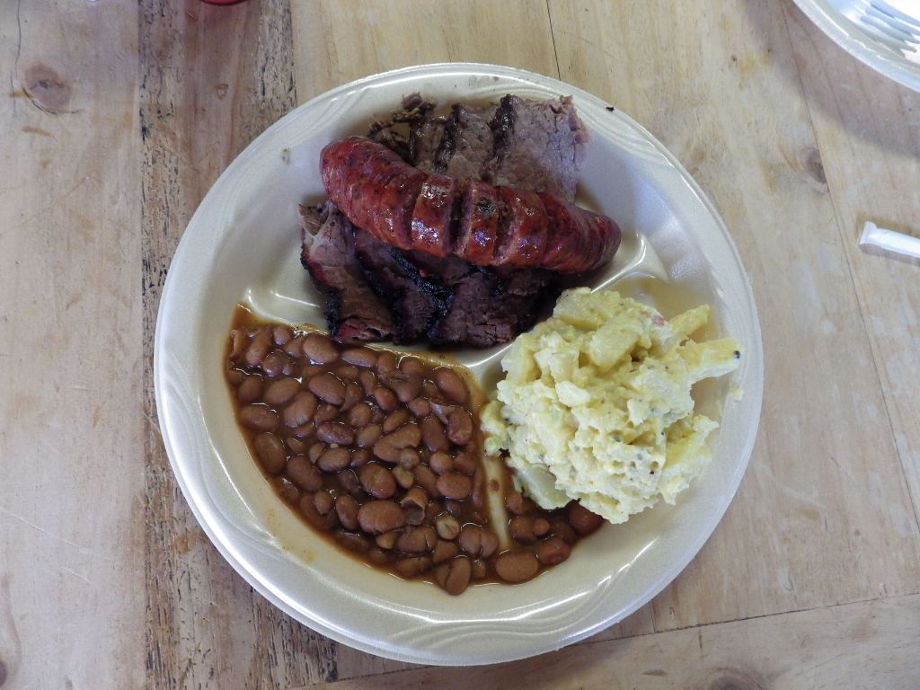 Brisket, Sausage, and sides at Buzzie's BBQ