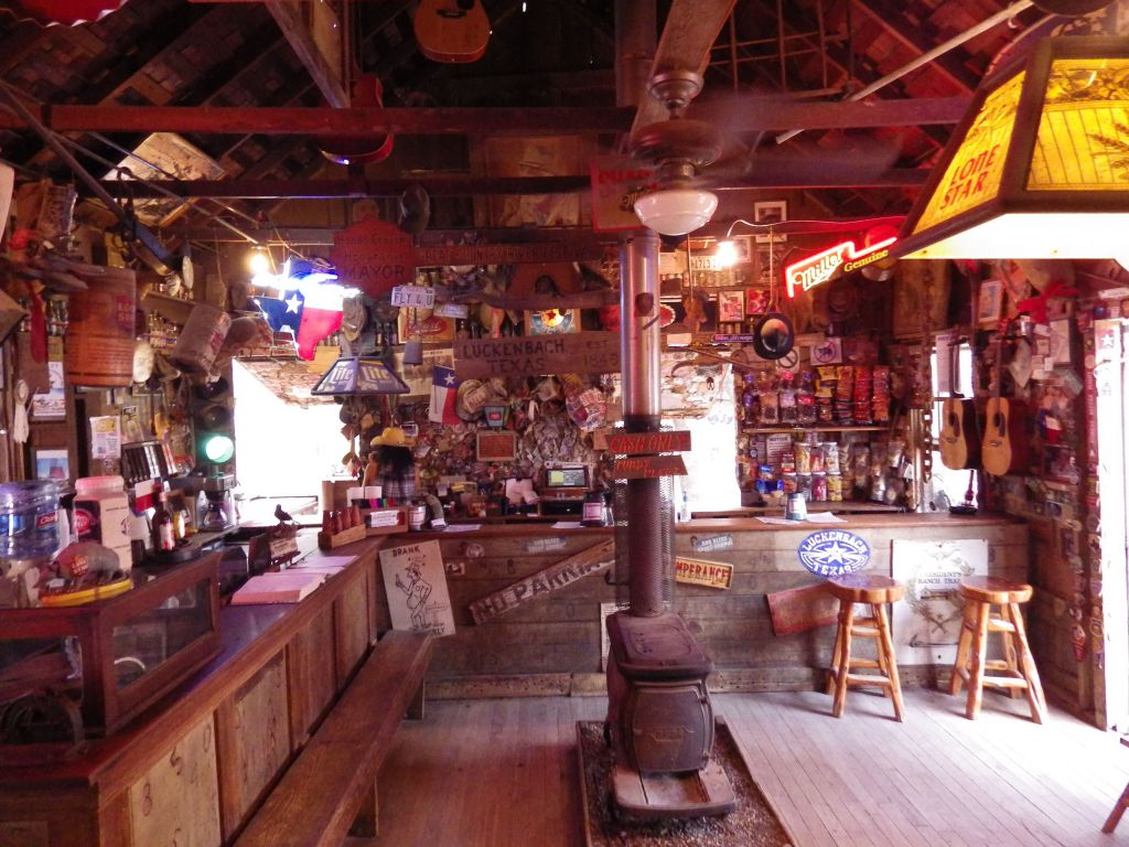 The bar inside the old Post Office in Luckenbach