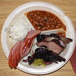 A nice plate of BBQ and sides at The Brisket House