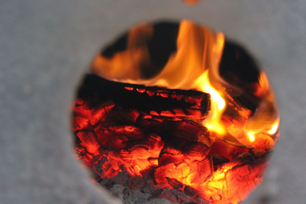 Peeking in the firebox