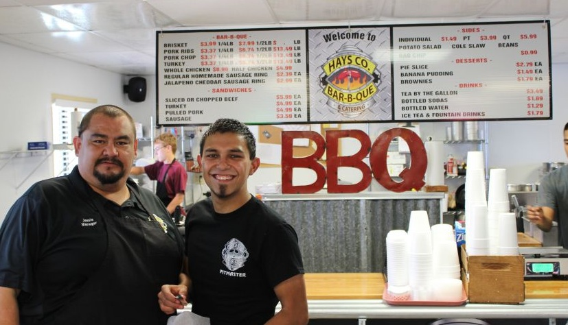 Aaron Hernandez and Jessie Miranda inside Hay's Co. Bar-B-Que
