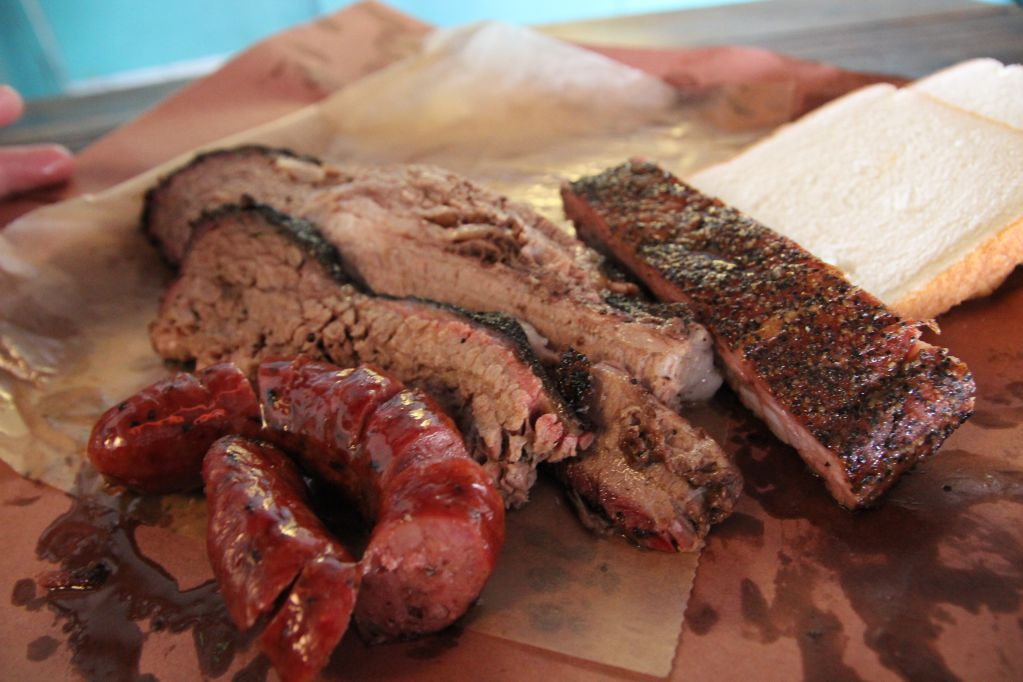 Brisket, Sausage, and rib from Franklin Barbecue