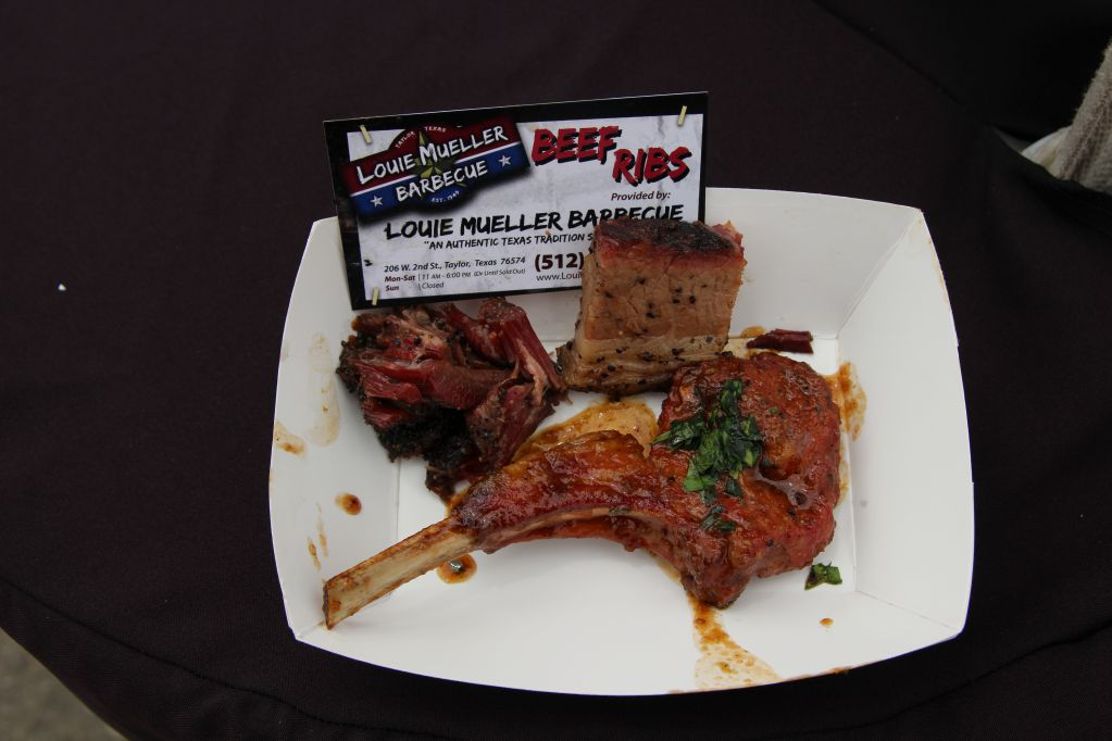 Lamb lollipop, beef rib, and brisket from Louie Mueller