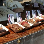 Beef rib and brisket samples from Louie Mueller Barbecue