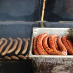 Sausage in the smoker at Southside Market in Bastrop