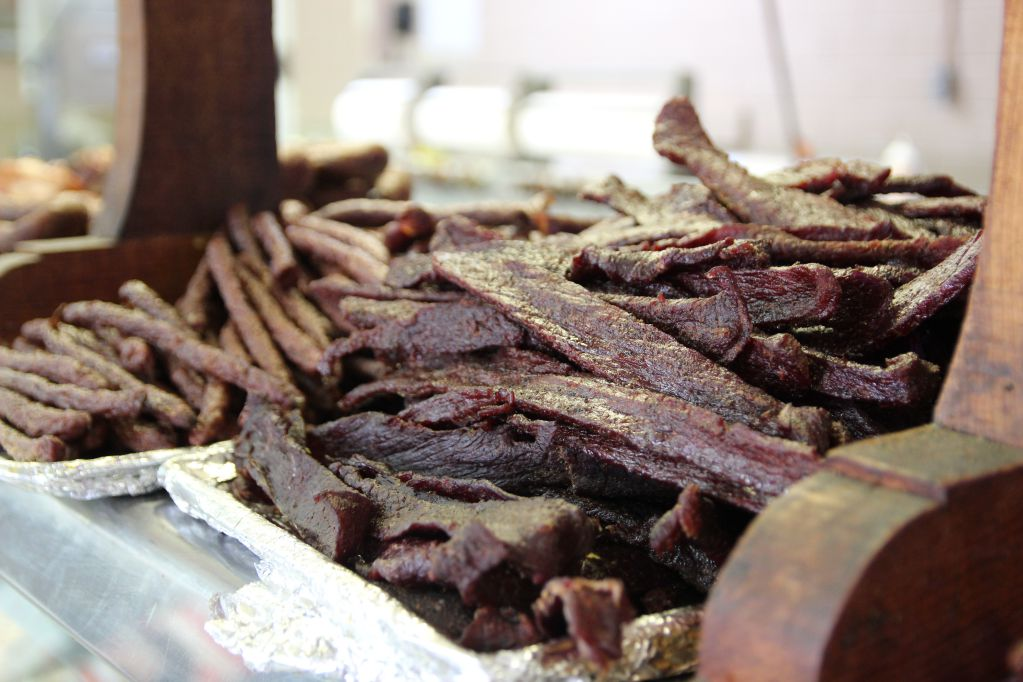 Beef Jerky and dry sausage at Vincek's Smokehouse