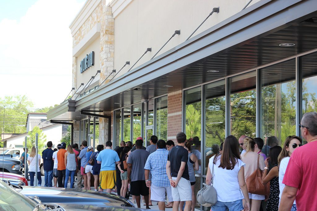 Hungry BBQ fans lined up for the opening at Gatlin's new location