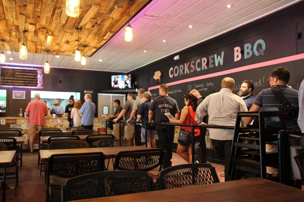 A large dining room and sectioned off line is a nice setup at the Corkscrew BBQ's Old Town Spring location