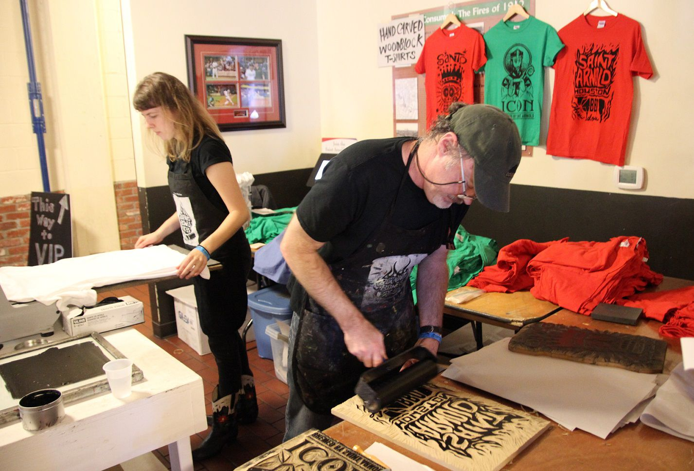 Burned Bones Press printed Tshirts on demand from carved wood at HOUBBQ Throwdown 2015