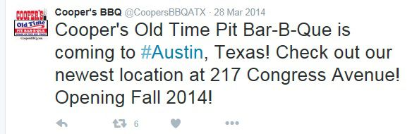 Cooper's announces Austin location
