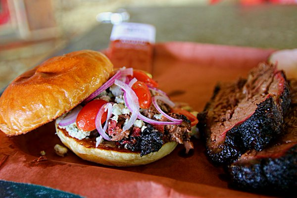 The excellent Brisket and Blues sandwich from Tejas Chocolate