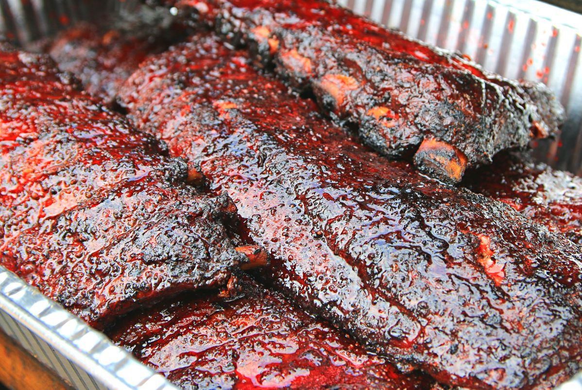 Freedmen's Barbecue glazed their ribs with Big Red for a unique taste and incredible color