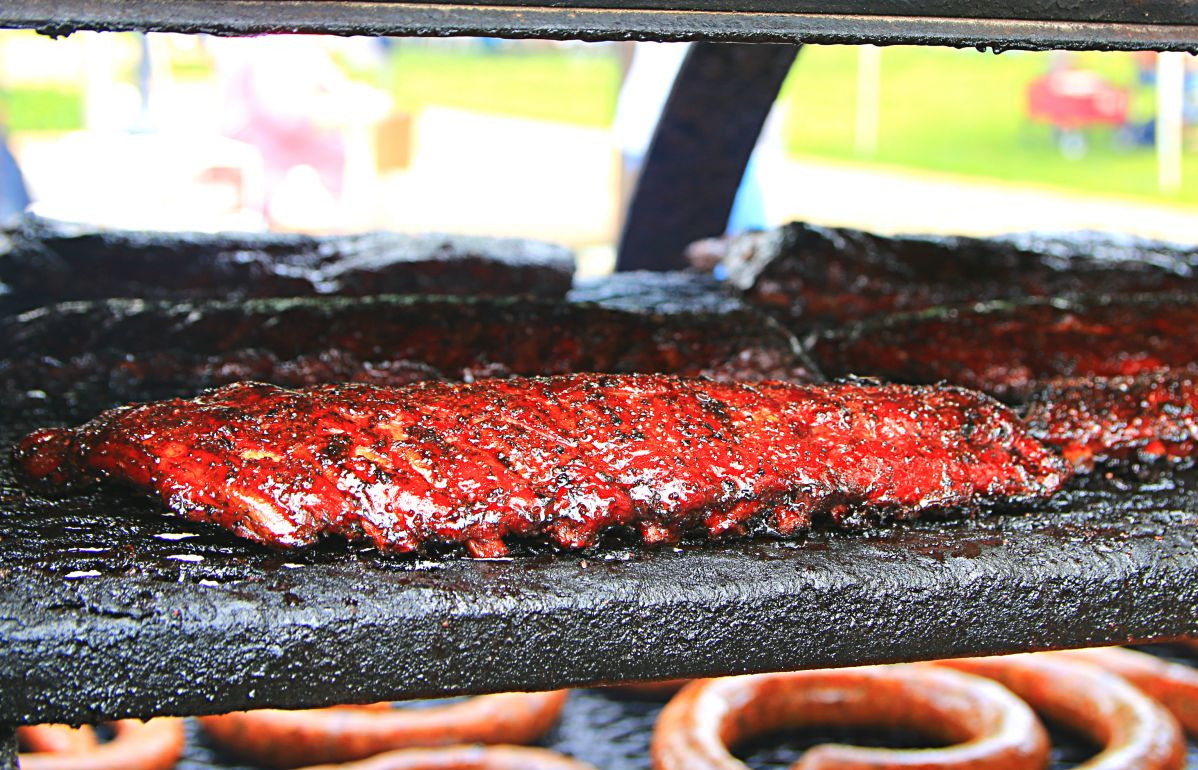 Ribs on the pit at Freedmen's Barbecue booth