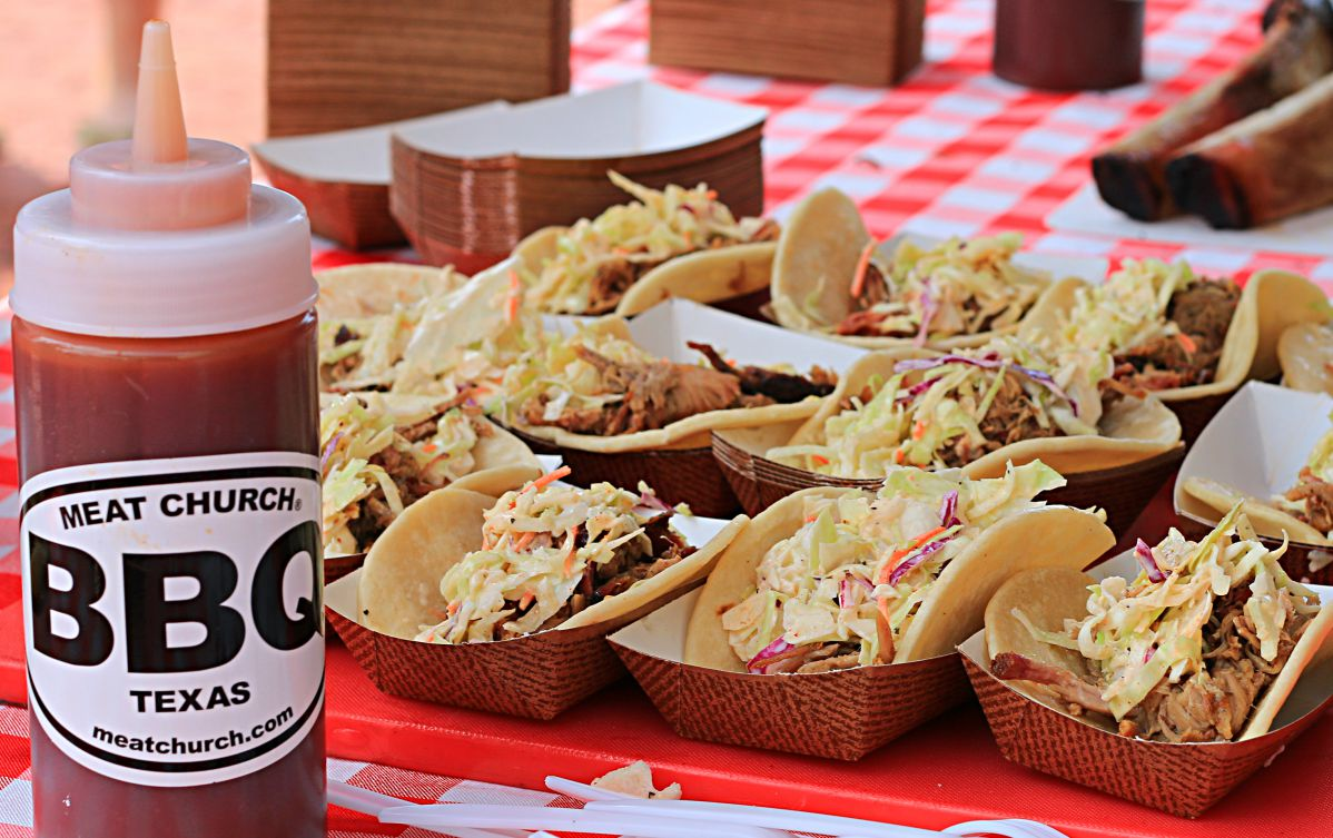 Meat Church's pulled pork tacos with Alabama slaw. They also had beef ribs, burnt ends, and brisket sliders!