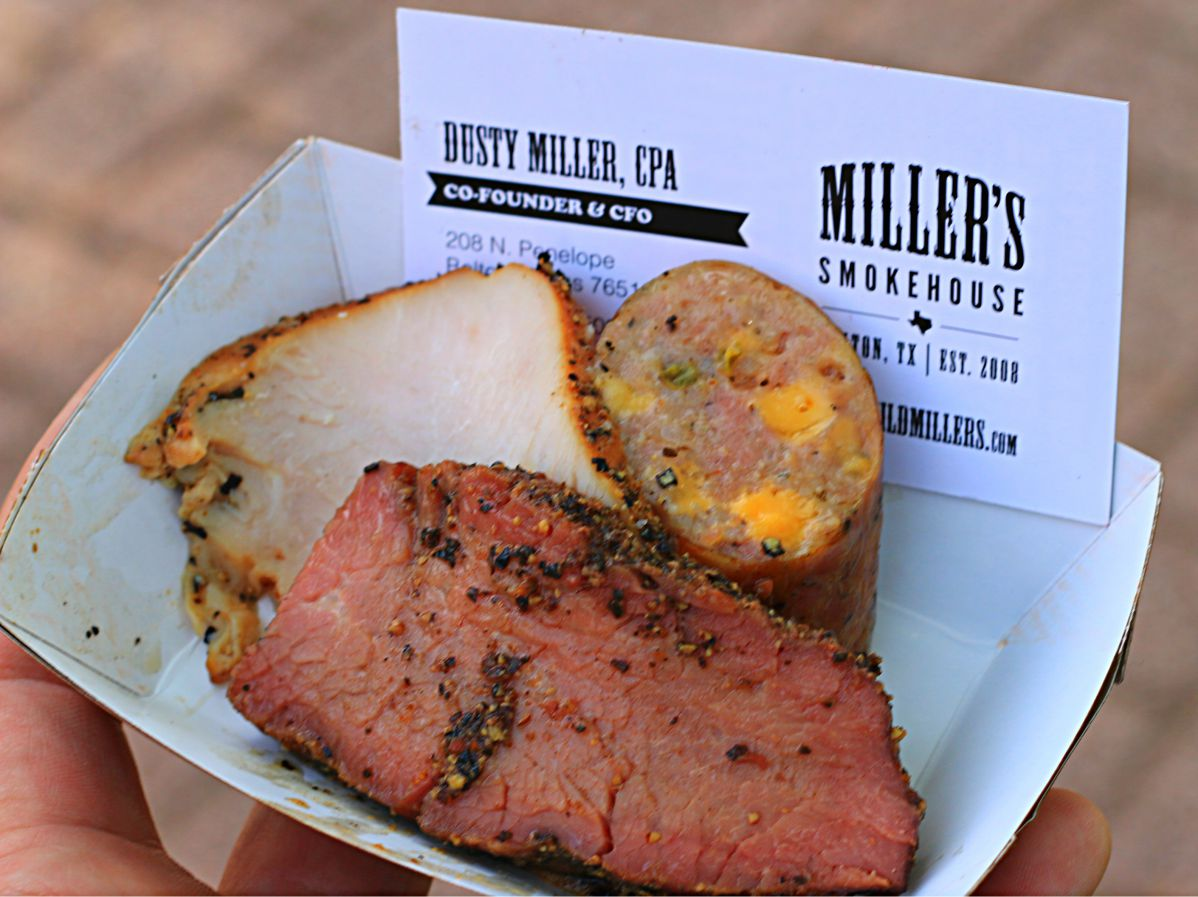 Tri Tip, Jalapeno cheese sausage, and turkey from Miller's Smokehouse