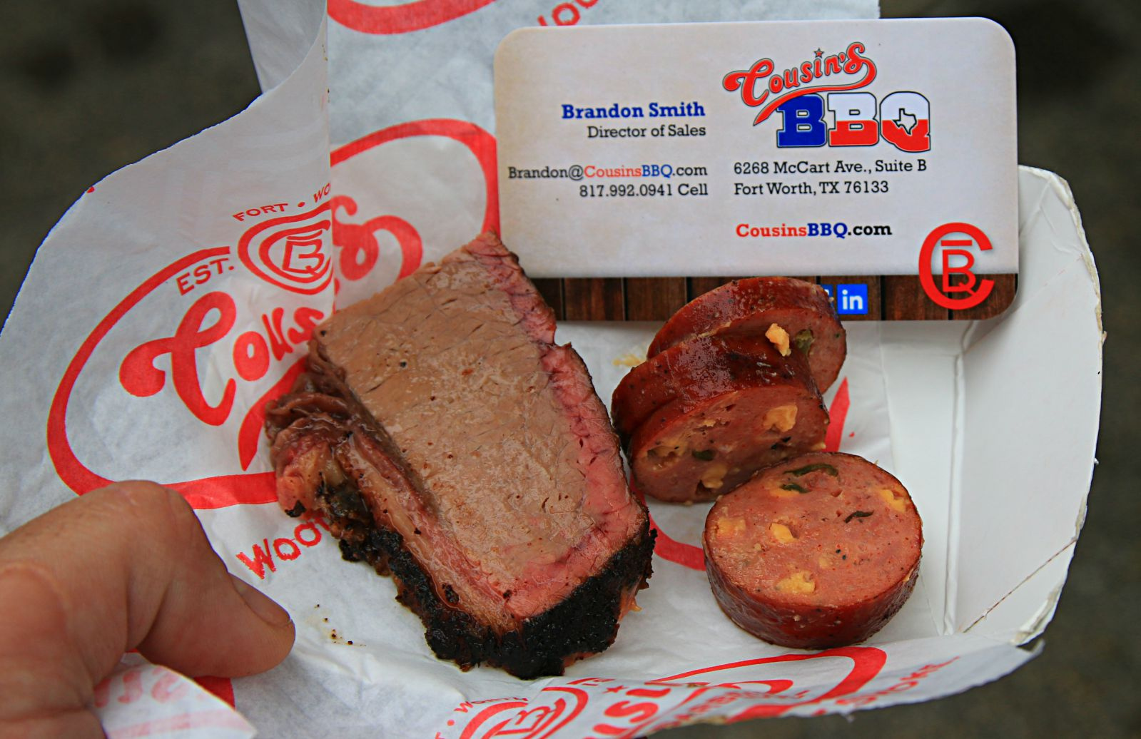 Cousin's BBQ brisket and jalapeno cheese sausage at Smoked Dallas 2016