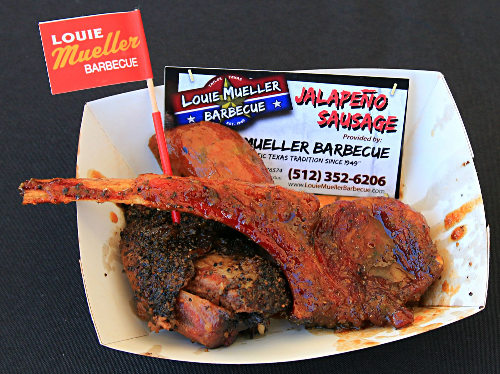 Beef rib, sausage, and lamb pop from Louie Mueller Barbecue at Texas Monthly BBQ Fest 2016