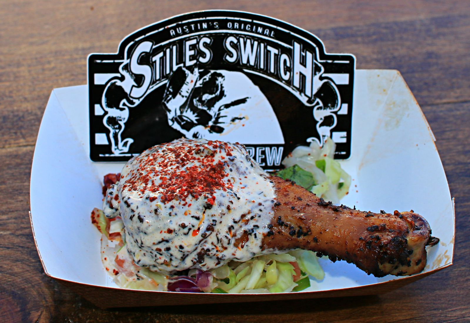 Smoked chicken with Alabama white sauce from Stiles Switch at Texas Monthly BBQ Fest 2016