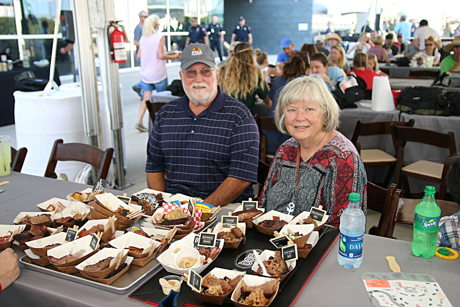 Ron & Judy Bell along with Lauren & Blake Jordan (not pictured) brought a custom tray and pre-made labels for every barbecue booth at Texas Monthly BBQ Fest 2016